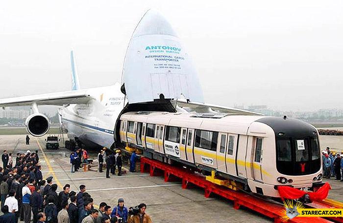 Train inside a plane