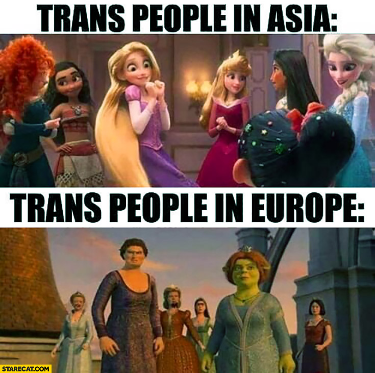 Trans people in Asia vs trans people in Europe cartoons comparison
