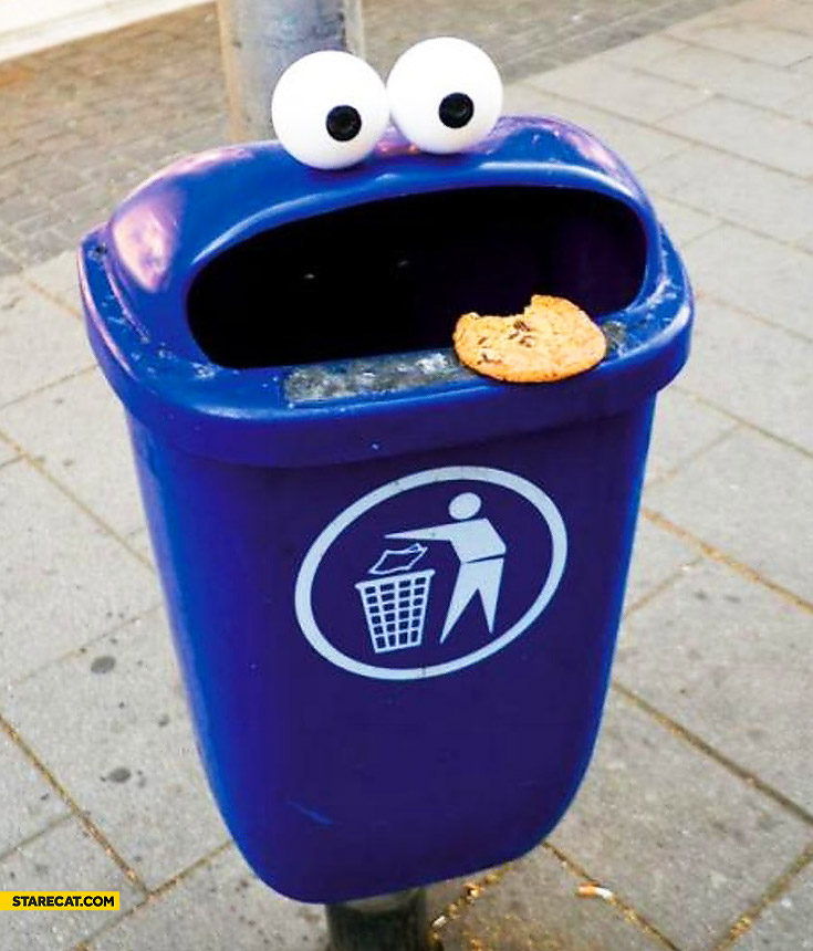 Trash bin cookie monster