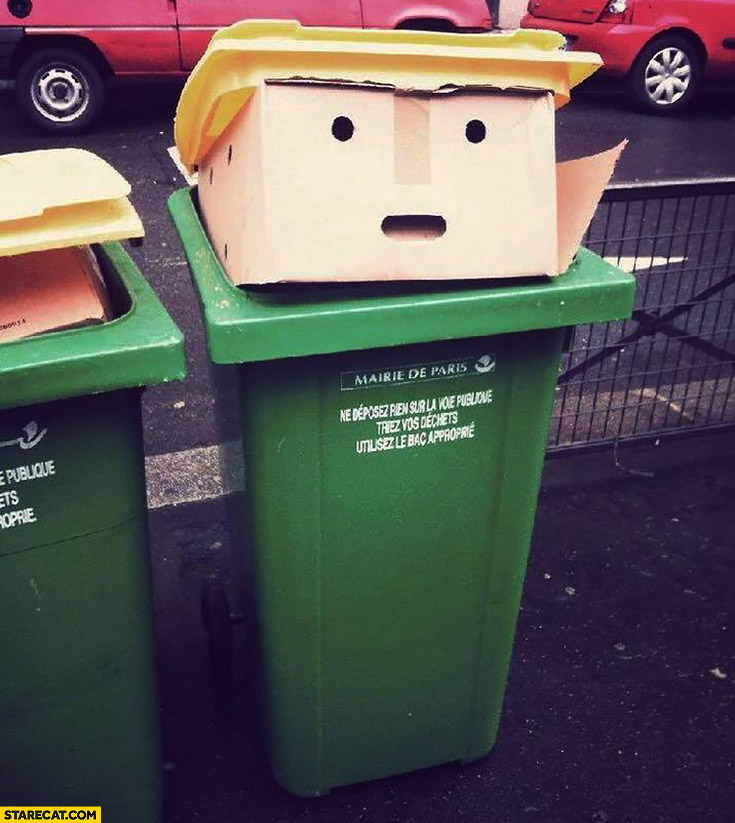Trash bin looking like Donald Trump