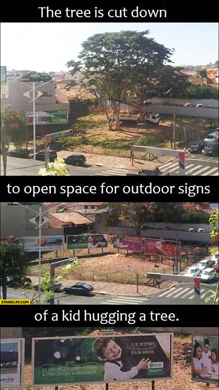 Tree is cut down to open space for outdoor sign of a kid hugging a tree