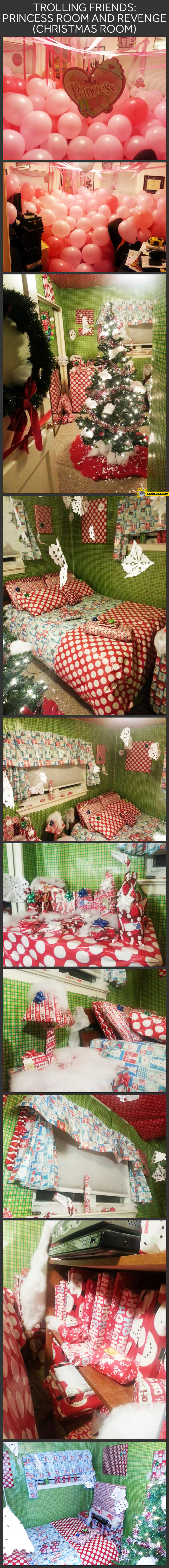 Trolling balloons in room everything wrapped Christmas