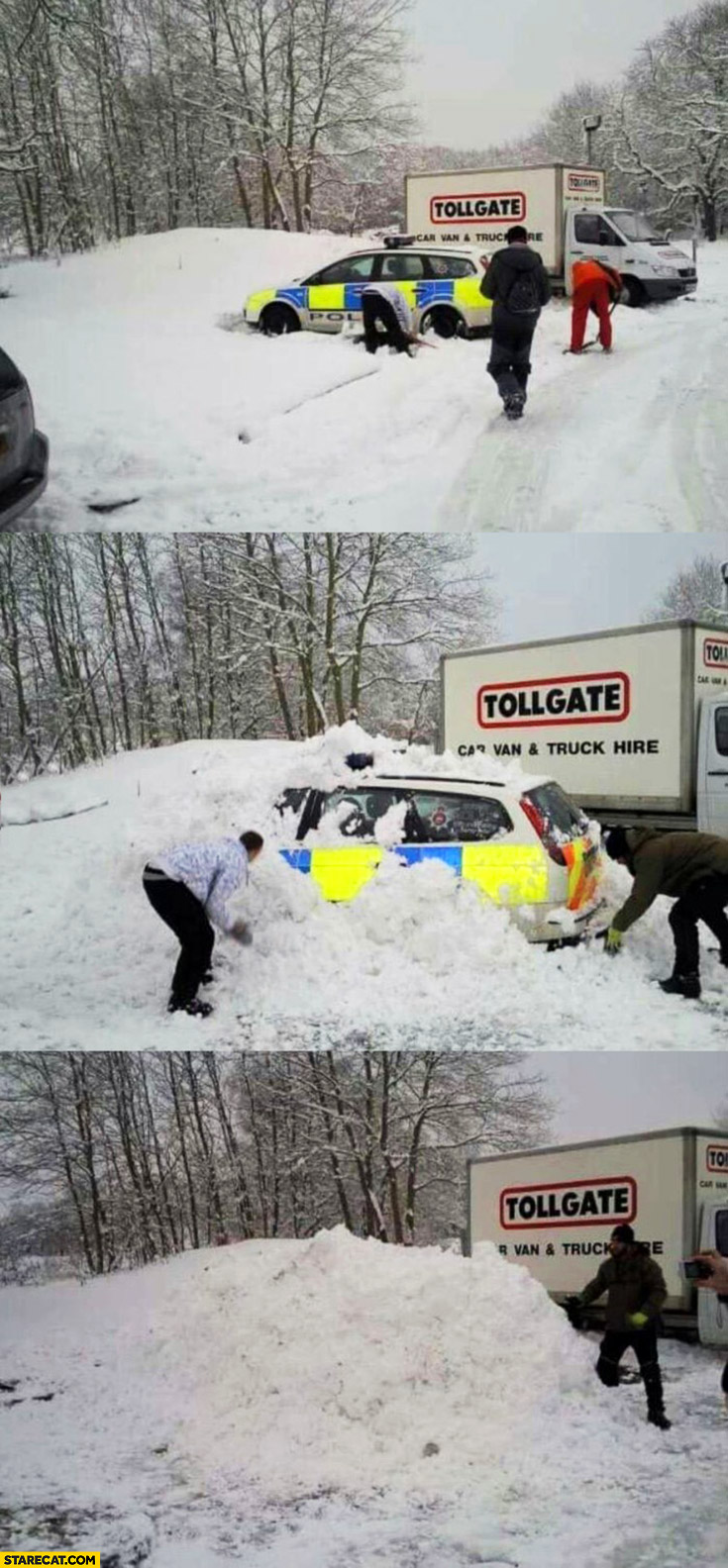 Trolling police car covered by snow