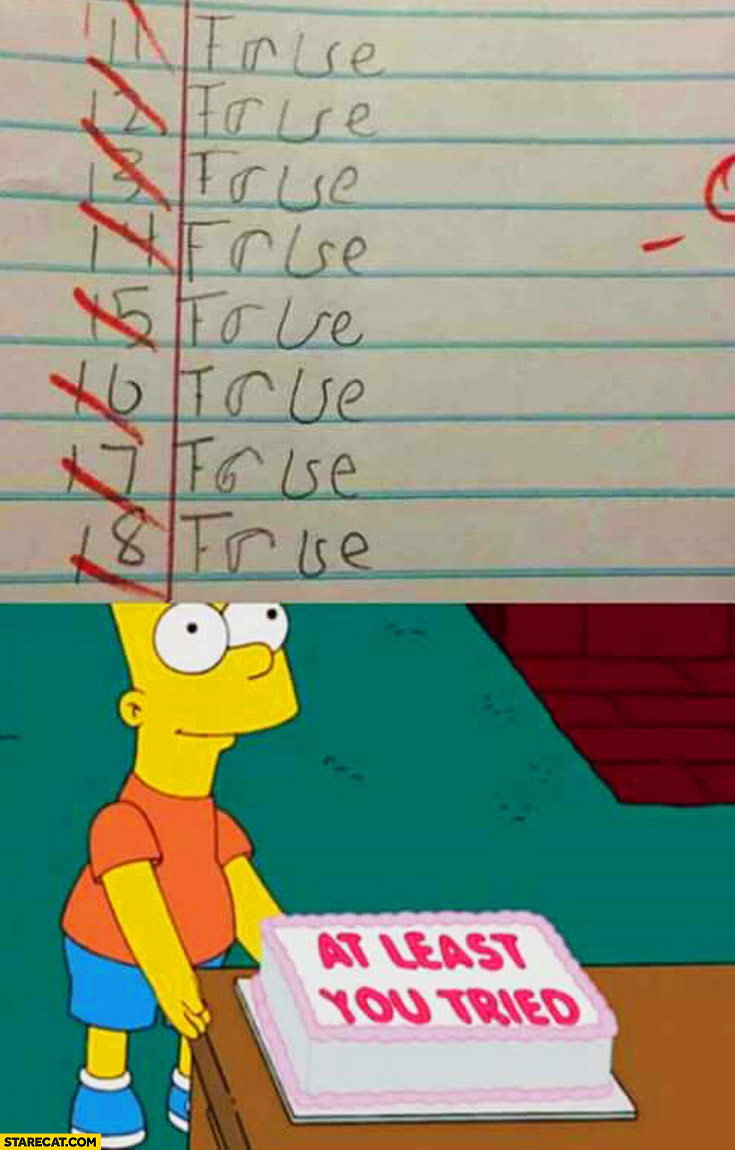 True or false exam all failed at least you tried cake Bart Simpson