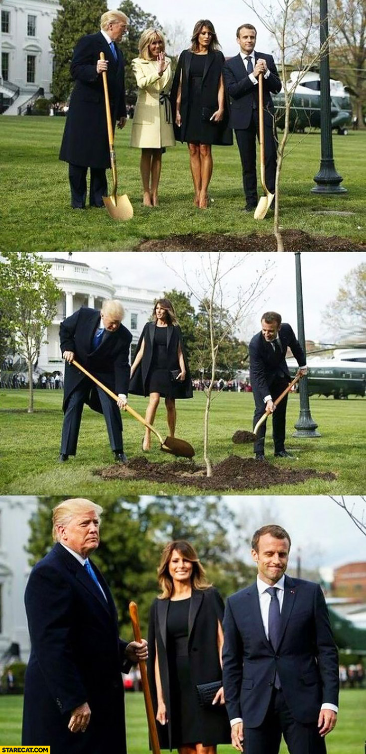 Trump and Macron burrying Macron's wife in the ground