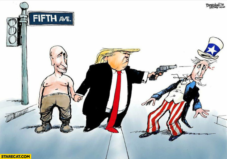 Trump friends with Putin shooting America drawing