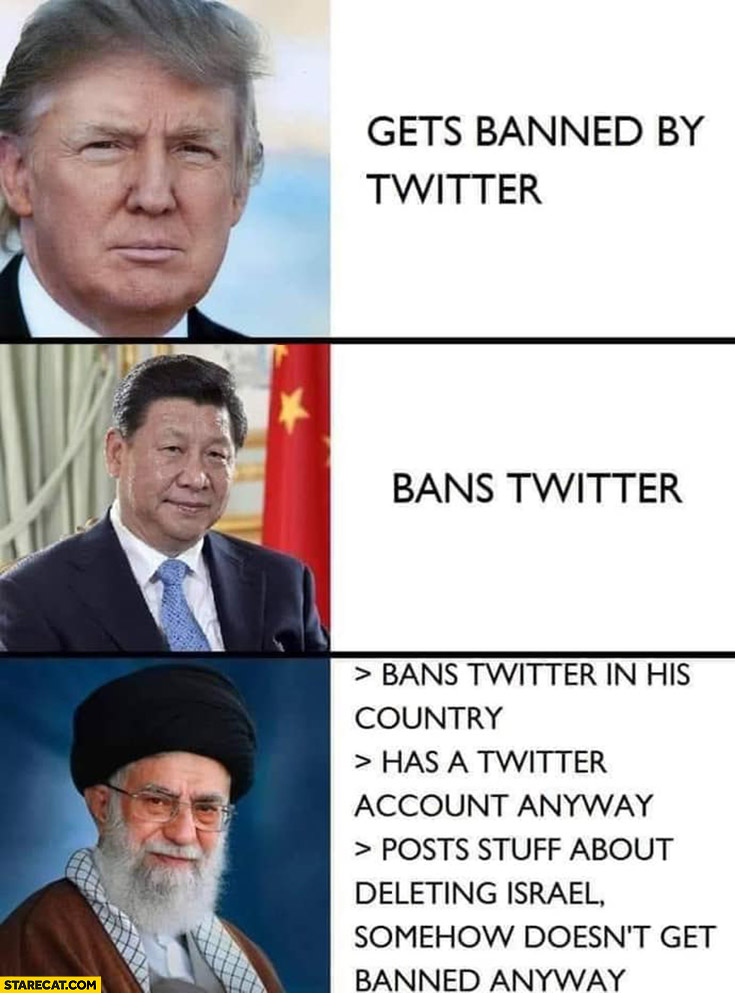 Trump gets banned by twitterl, Xi Jingping bans twitter, Rouhani Iran bans, doesn't get banned