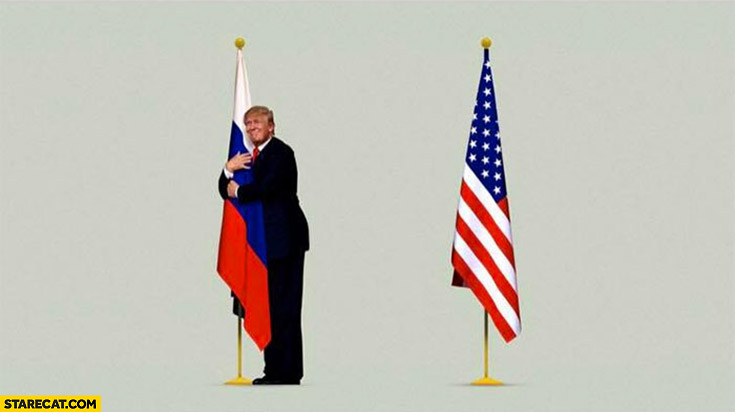 Trump hugging Russian flag not American flag