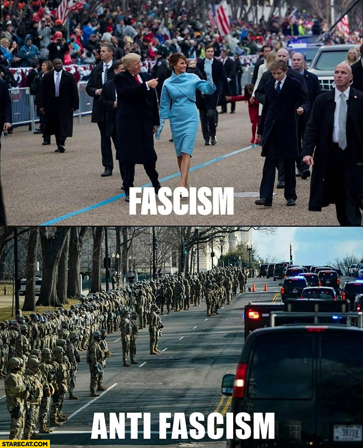 Trump inauguration facism vs Biden with army anti-fascism