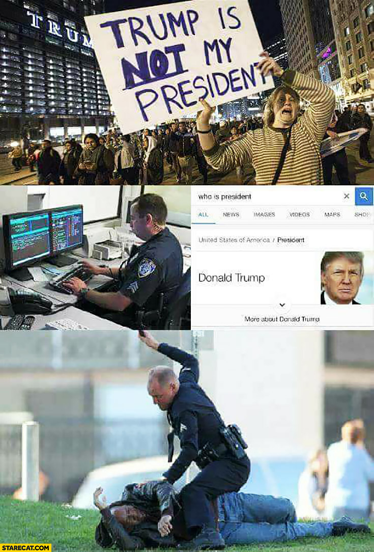 Trump is not my president policeman googling who is president then beating the protester