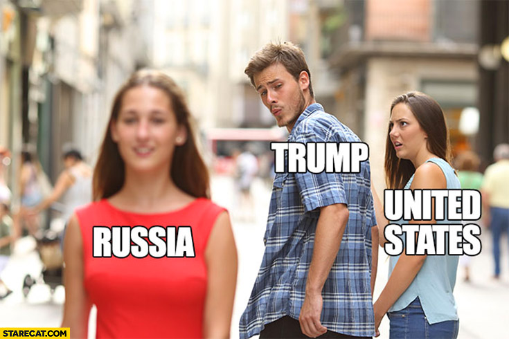 Trump looking at Russia instead of United States red dress meme