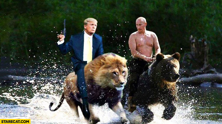 Trump riding on a lion with Putin riding on a bear