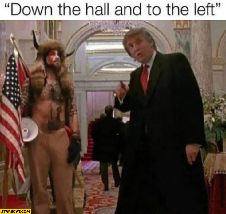 Trump supporters in capitol Kevin movie down the hall and to the left