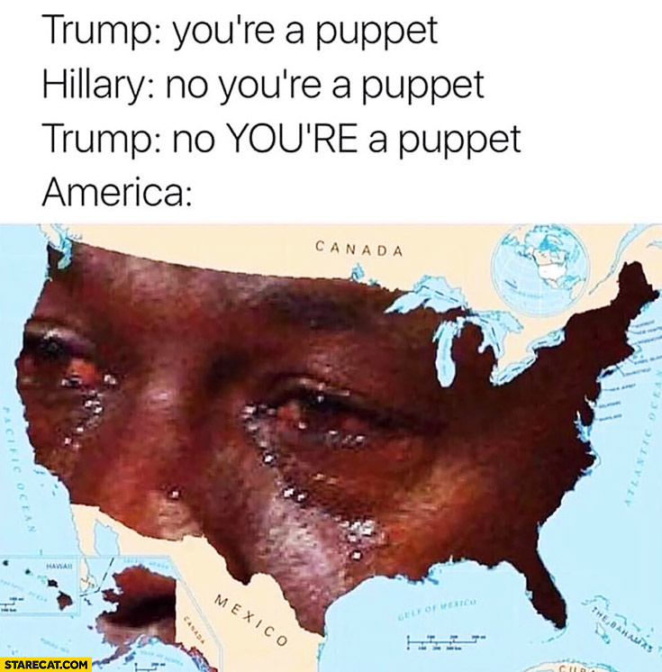 Trump: you're a puppet, Hillary: no you're a puppet, America crying meme