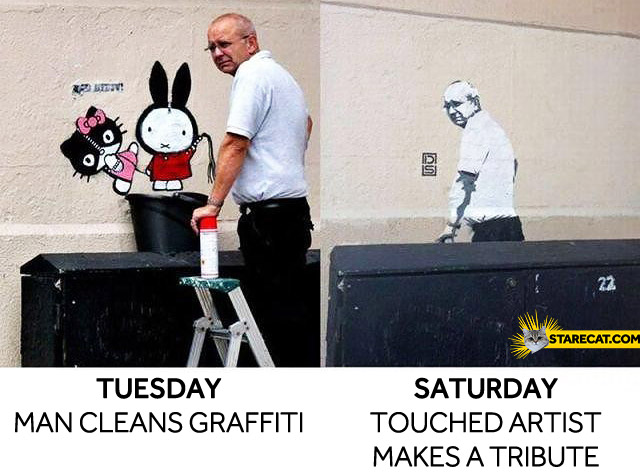 Tuesday man cleans graffiti saturday touched artist makes a tribute