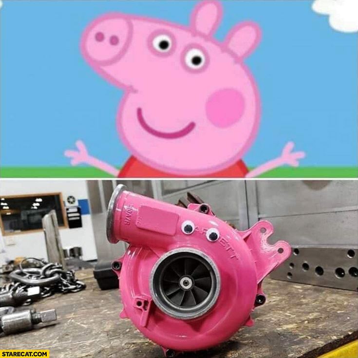 Turbocharger painted pink looks like Peppa Pig