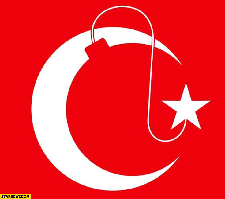 Turkish flag like a ticking bomb about to explode creative graphic