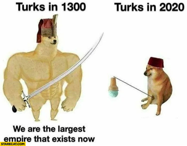 Turks in 1300 we are the largest empire that exists now vs in 2020 dog doge