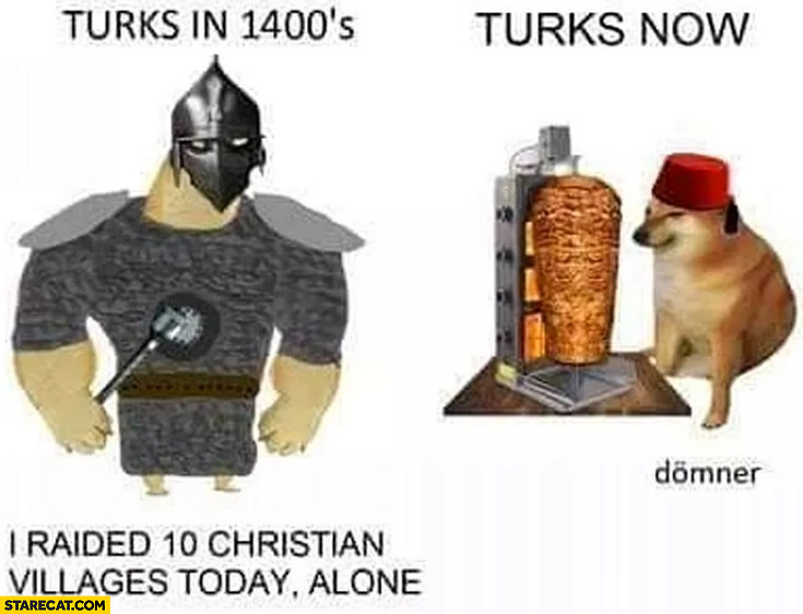 Turks in 1400s vs Turks now kebab doge comparison