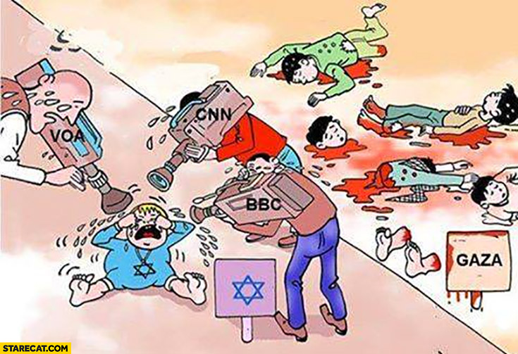 Tv showing crying Jewish baby instead of victims in Gaza Palestine Israel