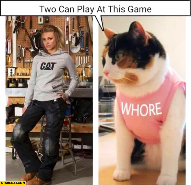 Two can play at this game – girl wearing cat hoodie, cat wearing whore t-shirt