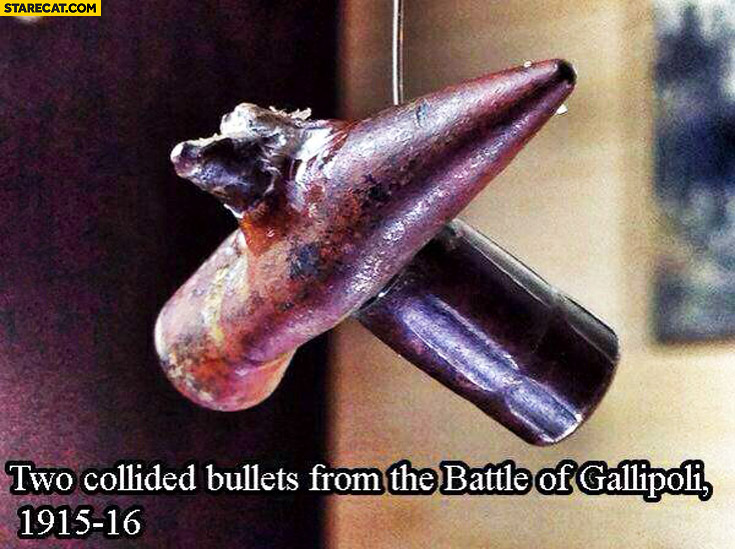 Two collided bullets from the battle of Gallipoli 1915
