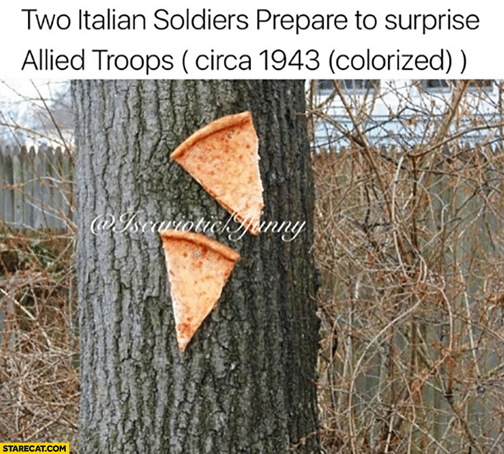 Two Italian soldiers prepare to suprise allied troops pizza slices circa 1943 (colorized)