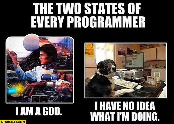 Two states of every programmer I am god I have no idea what I'm doing