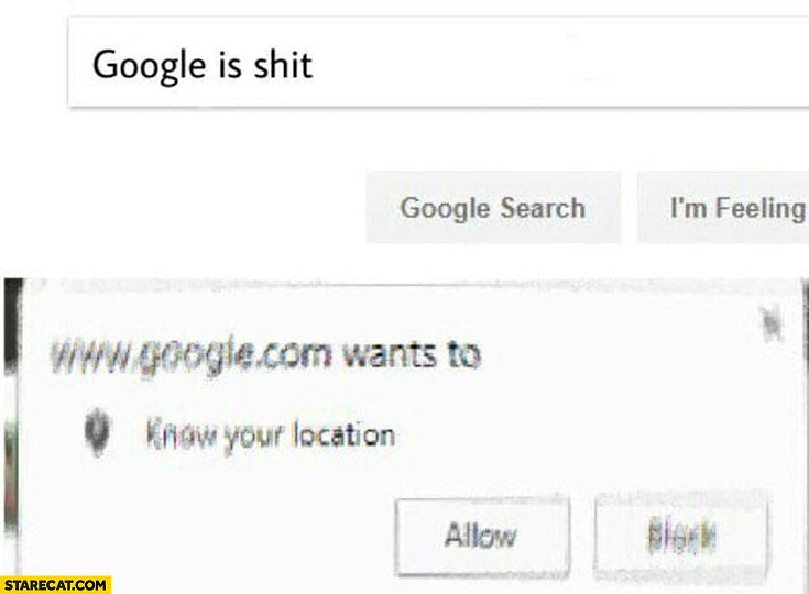 "Types ""google is shit"". Google.com wants to know your location"