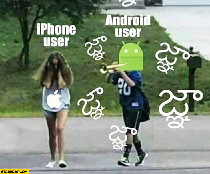 Typical Android user trolling iPhone user bug error message sign