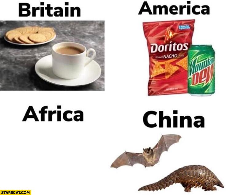 Typical food Britain, America, Africa, in China bat pangolin