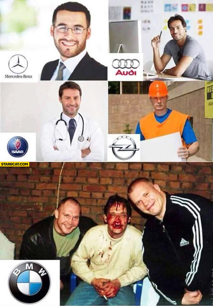 Typical owners of cars: BMW, Mercedes-Benz, Audi, Saab, Opel