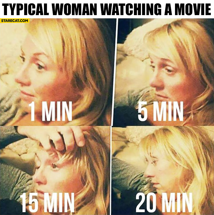 Typical woman watching a movie after 1 5 15 20 minutes fell asleep