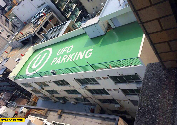 UFO parking on a roof