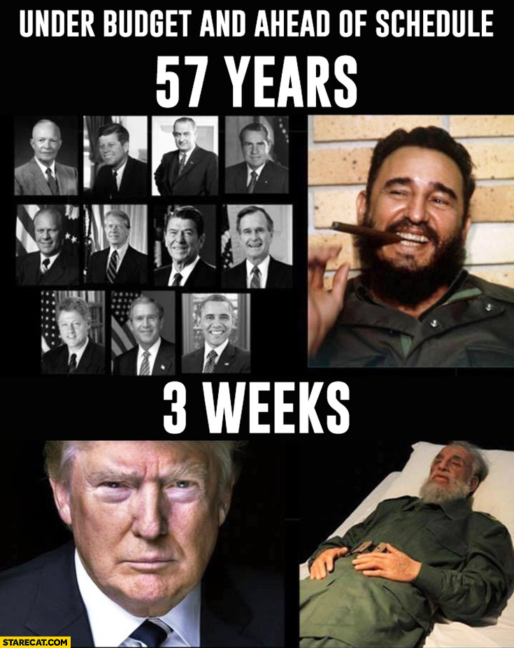 ... and ahead of schedule 57 years vs. 3 weeks Fidel Castro Donald Trump
