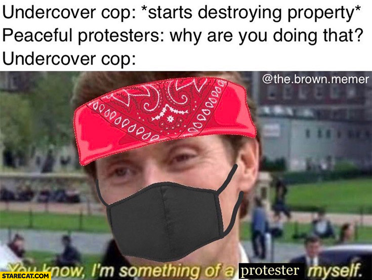 Undercover cop starts destroying property, peaceful protester: why are you doing that? Cop: you know I'm something of a protester myself