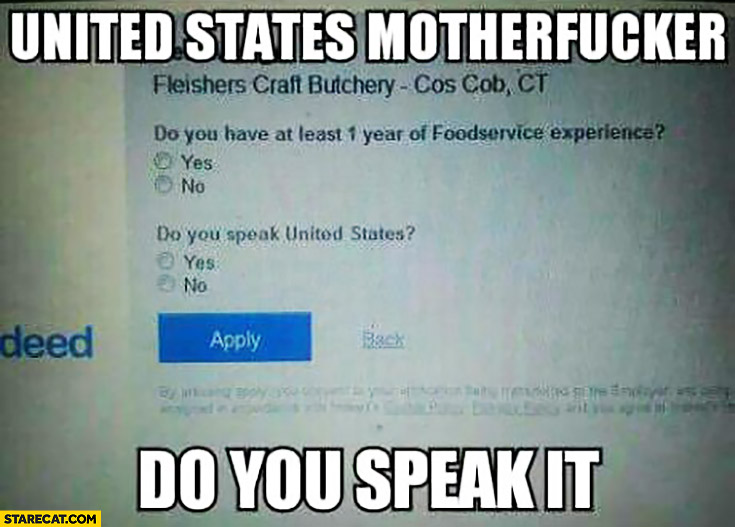 United States motherfcker, do you speak it? Website question