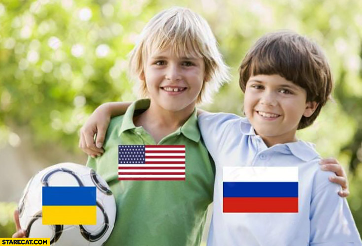 United States Russia kids playing football that is Ukraine