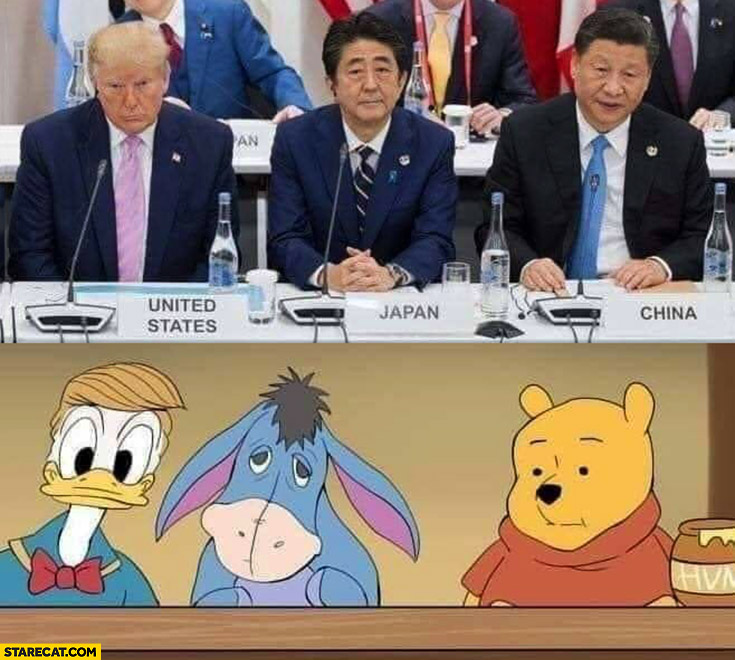 USA Japan China presidents looking like Winnie Pooh characters lookalikes