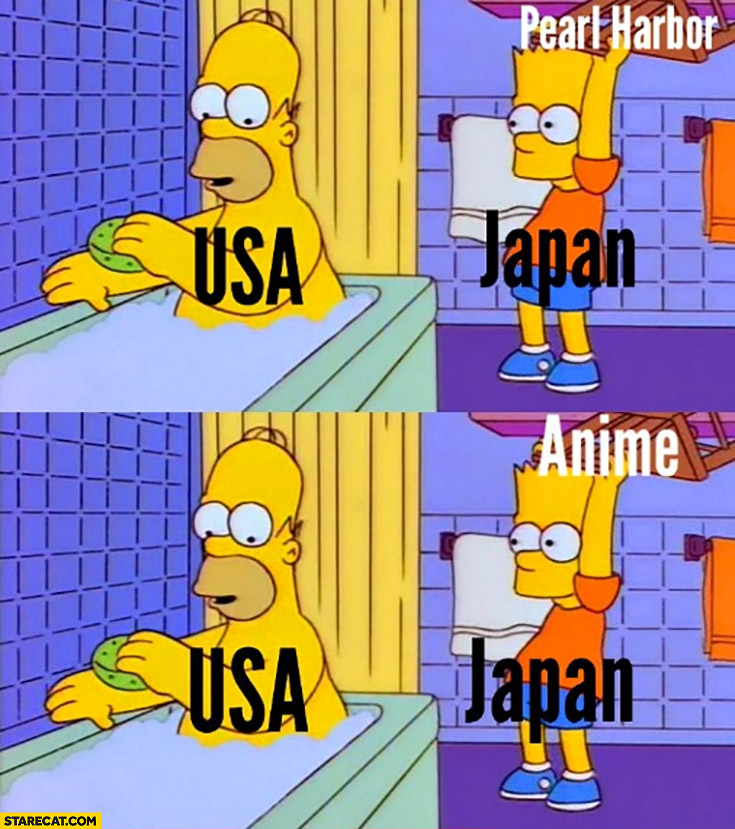USA vs Japan pearl harbor anime the Simpsons