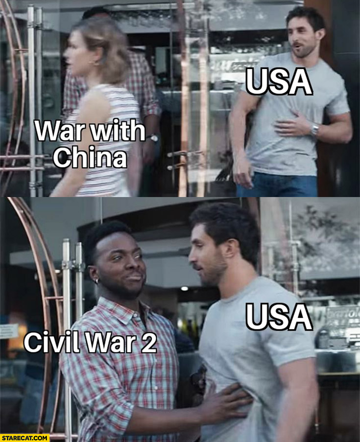 USA war with China, nope Civil War 2 instead black man stops it