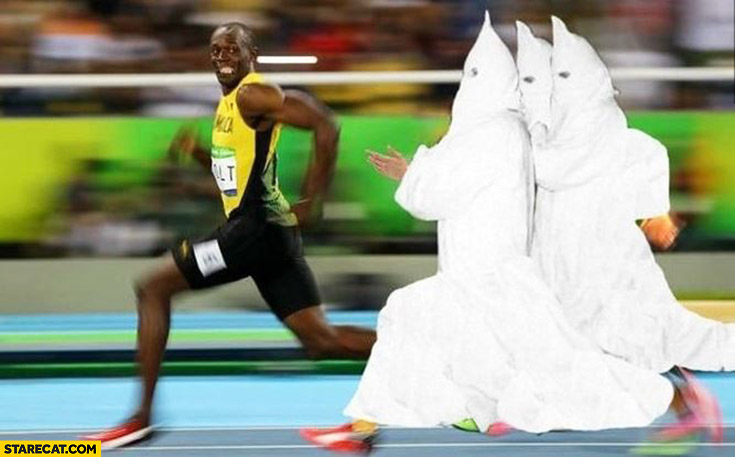 Usain Bolt chased by ku klux klan olympic photoshopped