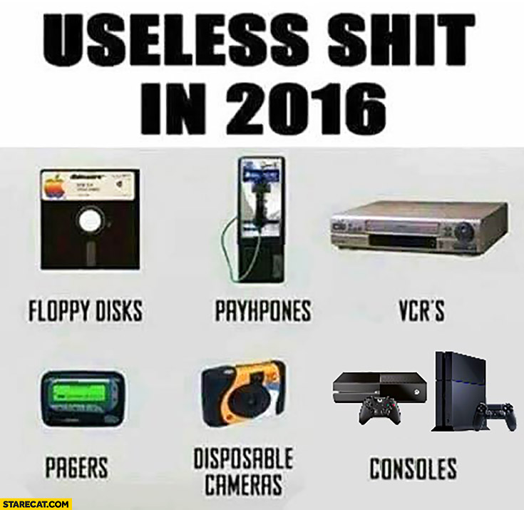 Useless shit in 2016: floppy disks, payphones, VCR's, pagers, disposable cameras, consoles