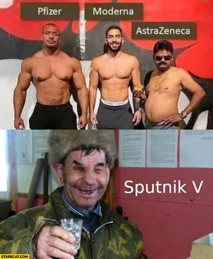 Vaccines comparison Pfizer, Moderna, AstraZeneca, Sputnik v drinking Russian
