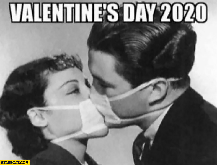 Valentine's day 2020 kiss wearing face masks corona virus
