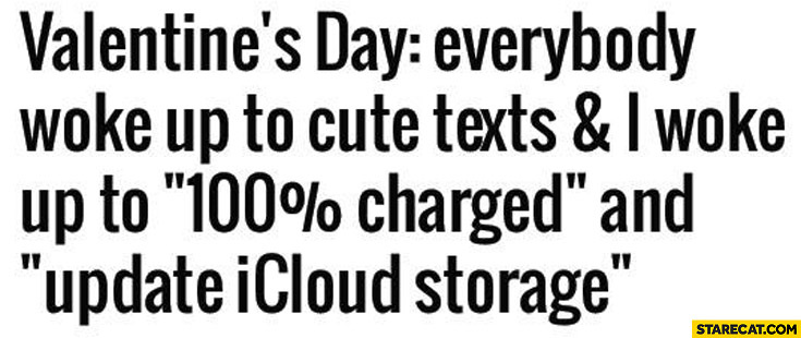 Valentine's day: everybody woke up to cute texts and I woke up to 100% percent charged and update icloud storage