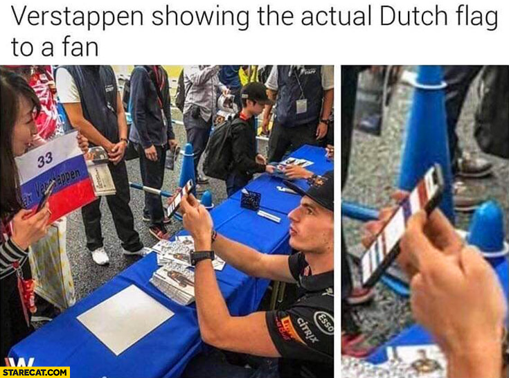 Verstappen showing the actual Dutch flag to a fan Russian formula 1