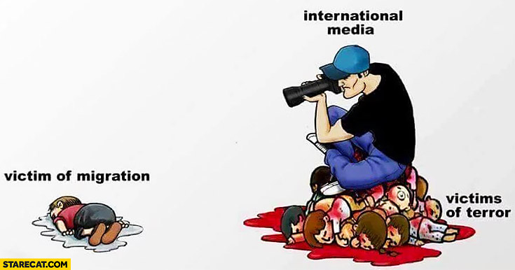Victim of migration, international media, victims of terror. Sad illustration of migration crisis