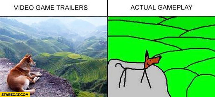 Video game trailers, actual gameplay comparison fail