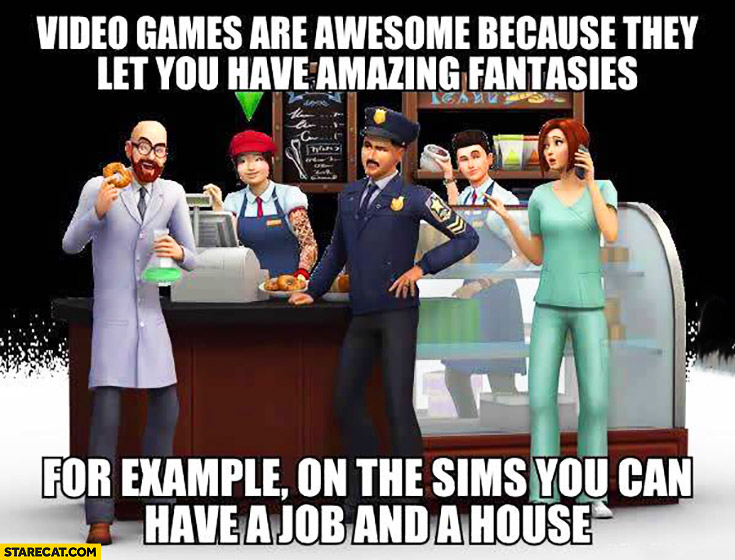 Video games are awesome because they let you have amazing fantasies. For example on the Sims you can have a job and a house